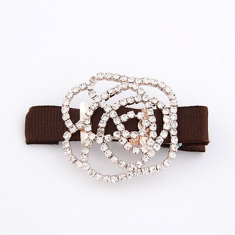 Unique gem embedded rose barrette / hair clip ( brown ) 207131