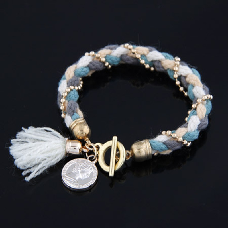 OL lady easy match  beads knitting  tassel charm  bracelet ( white ) 206910
