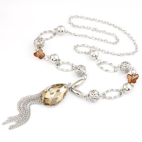 ( alloy )  lady wear  bowknot  big water drop tassel long necklace 206566