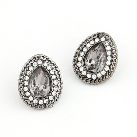 Unique dazzling imitated crystal tear drop ear studs ( gray ) 206157
