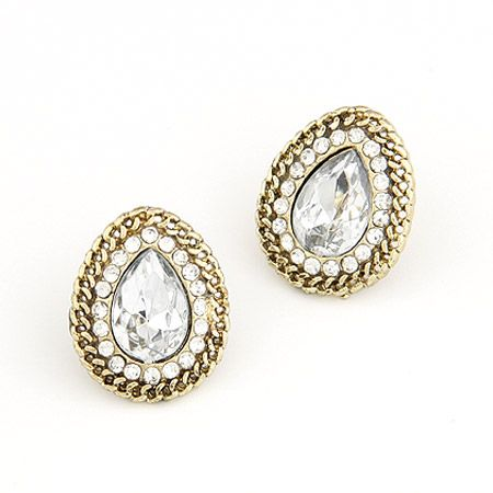 Unique dazzling imitated crystal tear drop ear studs ( white ) 206155