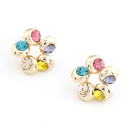 EXQUISITE  unique color gem concise flowr shape ear studs 206118