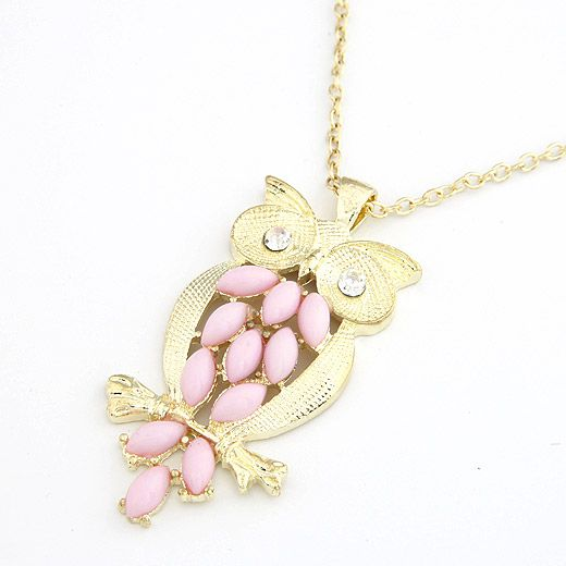 Classic resin owl sweater chain ( pink ) 206073