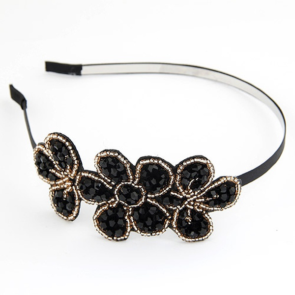 Bright Petal imitated crystal hair hoop ( black ) 205915