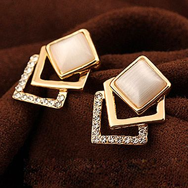 EXQUISITE  cat s eye stere squre ear studs 205932
