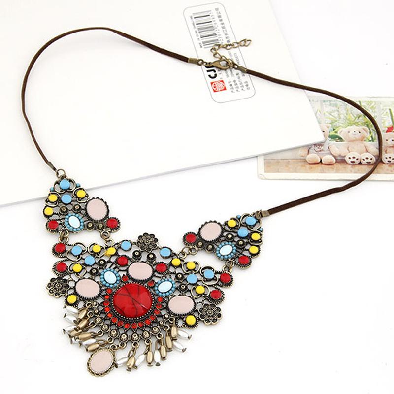 Occident fashion boast Bohemian style colorful tassel necklace 204780