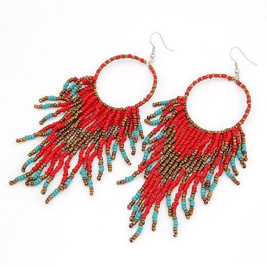 Occident fashion  Bohemian style bead tassel earrings red 204830