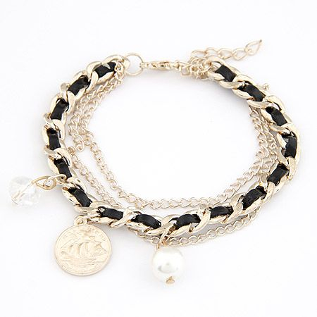 Elegant coin and imitated crystal Beads weave bracelet 205114