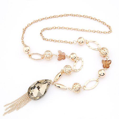 Elegant bowknot big tear drop tassel long necklace 204349