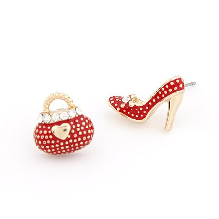 Delicate OL Sweet high-heeled shoes and bags asymmetry ear studs red 204326