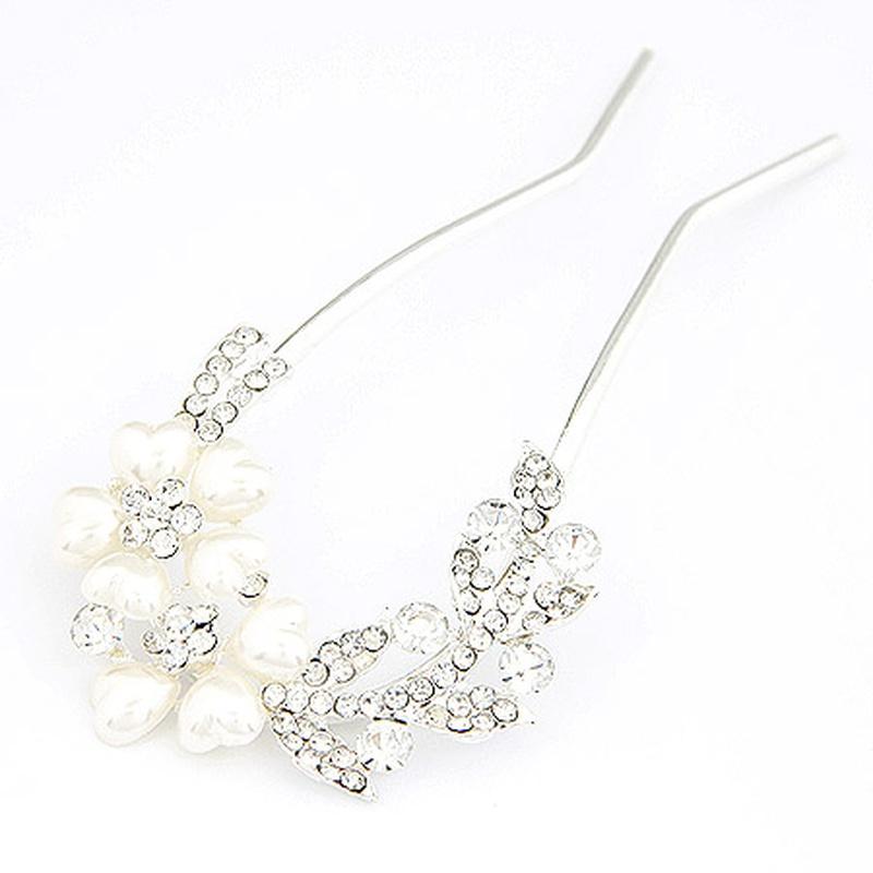Luxury gem beads U shaped hairpins 203970