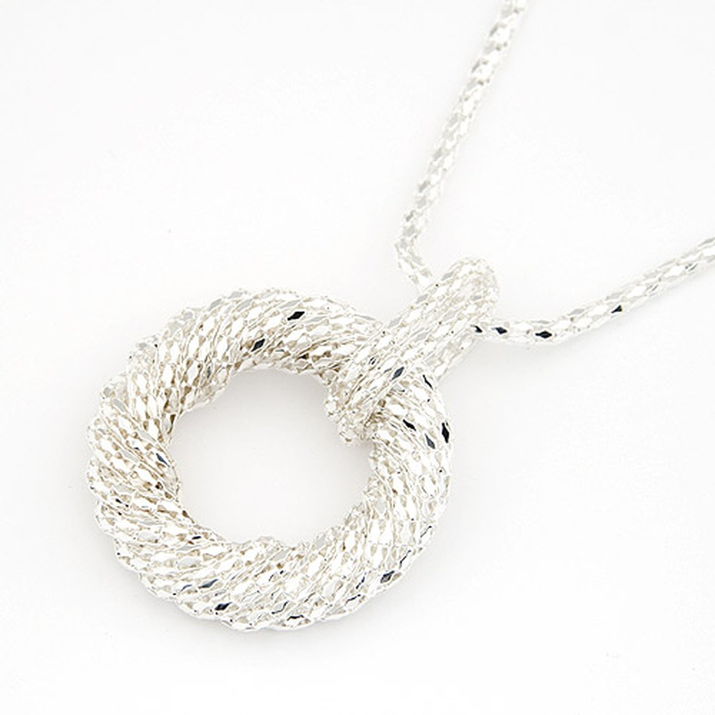 ( alloy tone ) occident Concise circle pendant long necklace /sweater chain 203747