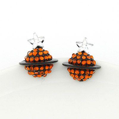 Sweet gem embedded saturn unique ear studs orange 202623
