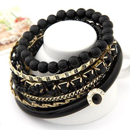 Bohemian sea life beads multi-layer bangle black 202259