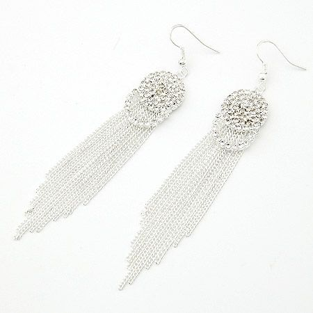 Gem office lady concise tassel earrings 202138