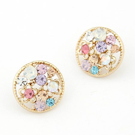 EXQUISITE gem flower concise ear studs 202032
