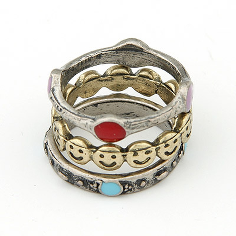 Sweet smiling face combination ring 201740