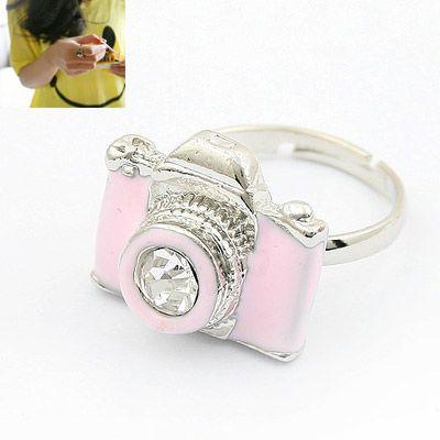 Fashion funny unique camera ring pink 178853