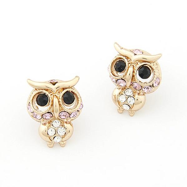 EXQUISITE gem embedded sweet owl ear studs 201662
