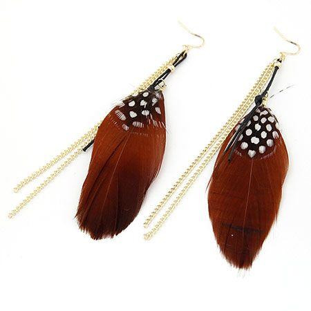 Personality tassel feather earrings 194717