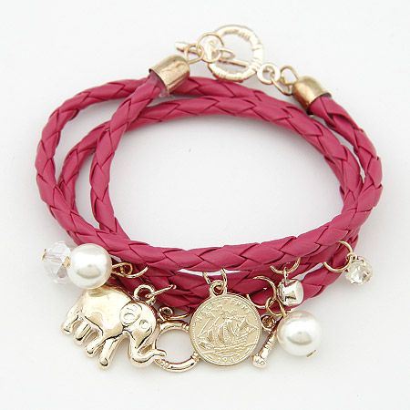 Easy match elephant ornamental pendants weave multi-layer bracelet rose 201296