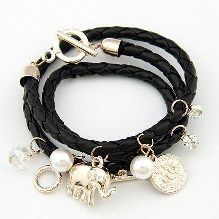 Easy match elephant ornamental pendants weave multi-layer bracelet black 201293