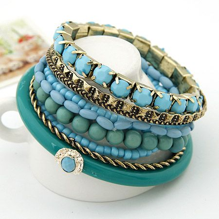 Bohemian ocean wind Sapphire beads multi-layer bangle 201290