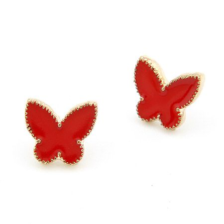 EXQUISITE alloyen edge Sweet the butterfly ear studs red 198047