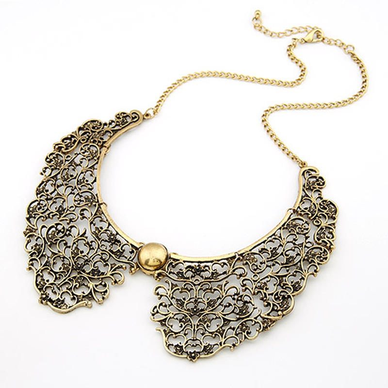 Vintage palace metal hollow out false collar necklace 200757