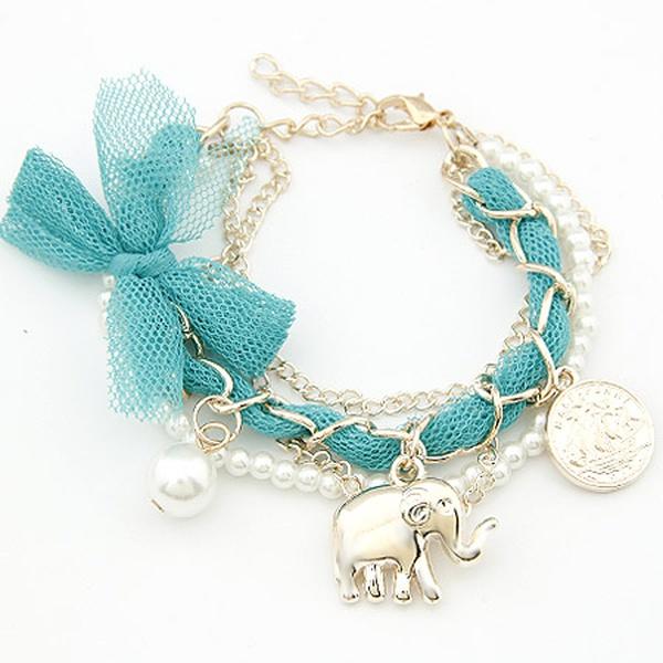 ( blue ) lovely Lace bowknot coin elephant weave bracelet 200745