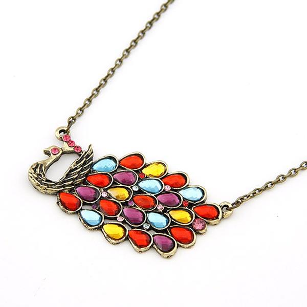 Vintage pretty peacock necklace 200378