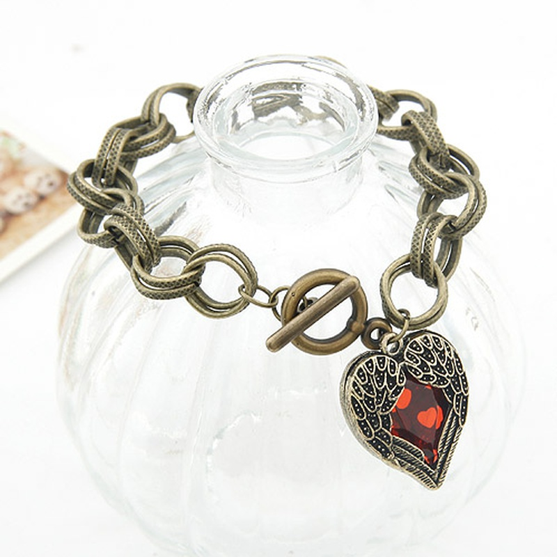 Occident vintage angle heart charm bracelet 200211