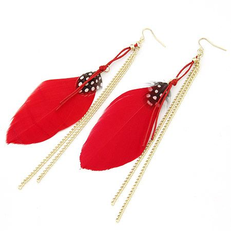 ( red ) unique feather tassel earrings 199950