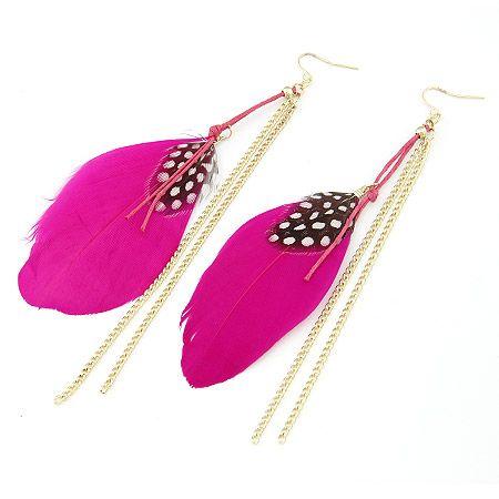 ( rose ) unique feather tassel earrings 199949