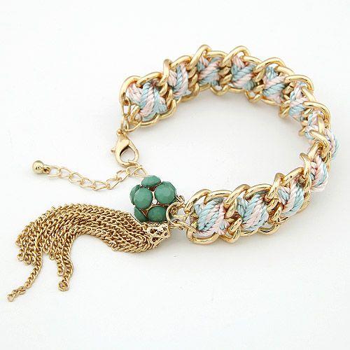Elegant handmade weave metal tassel bracelet 199896