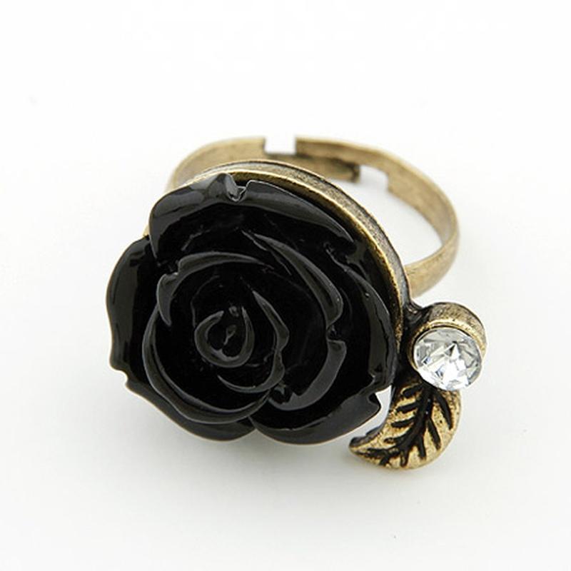 Sweet vintage rose opening ring black 199657