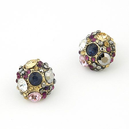 Vintage color gem sphere ear studs 199289