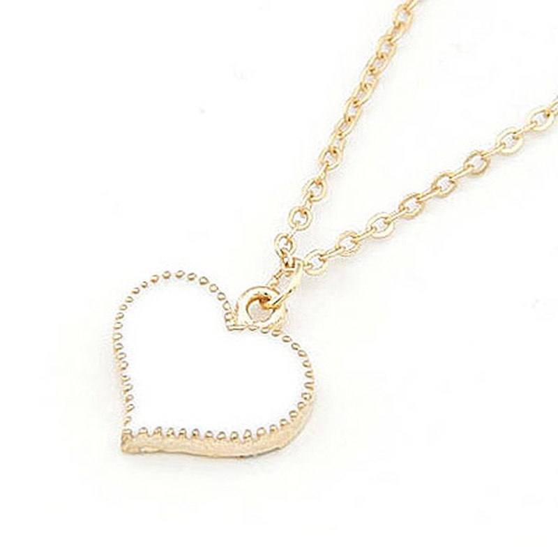 EXQUISITE alloyen edge Sweet heart necklace white 198384