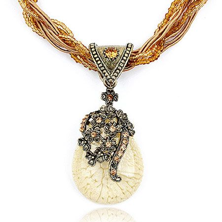Vintage hollow flower tear drop necklace 188906