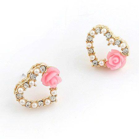Fashionable sweet love heart and flowers beads ear studs 192618