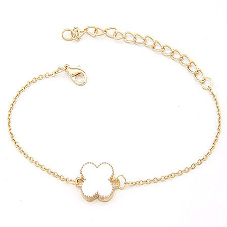 EXQUISITE alloyen edge sweet clover bracelet white 198376