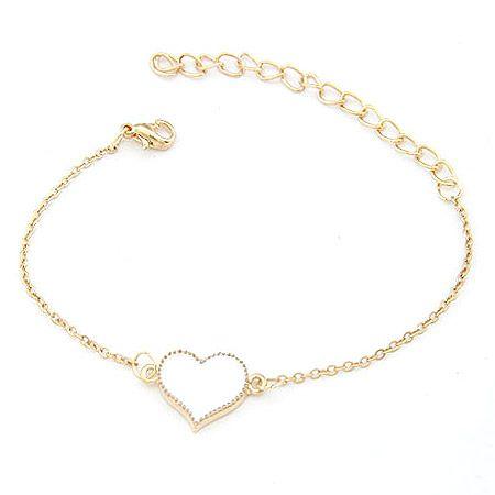 EXQUISITE alloyen edge sweet heart bracelet white 198373