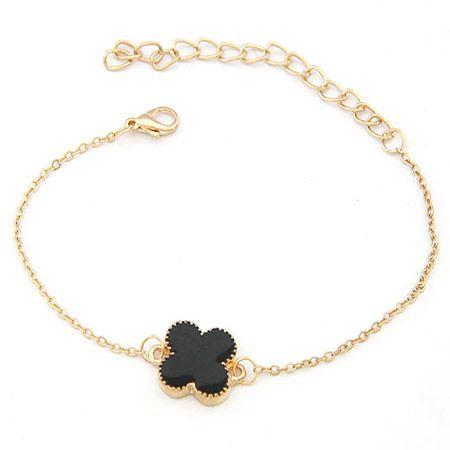 EXQUISITE alloyen edge sweet clover bracelet black 198377