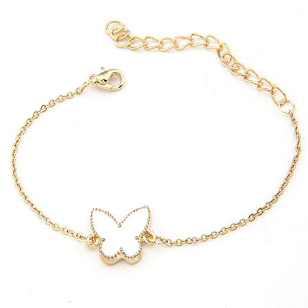 EXQUISITE alloyen edge sweet butterfly bracelet white 198379