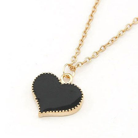 EXQUISITE alloyen edge Sweet heart necklace black 198382