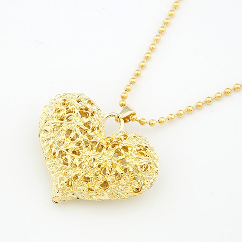 Alloy carved hollow out heart long necklace /sweater chain 198596