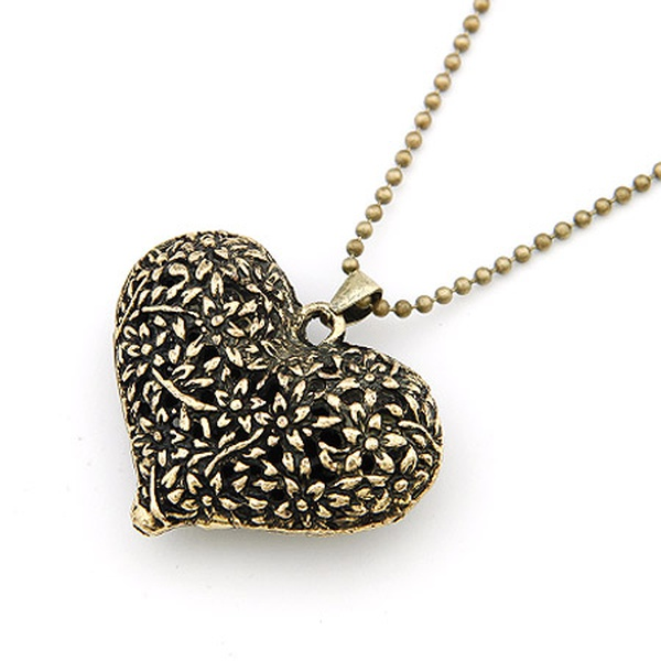Classic carved hollow out heart sweater chain 197939