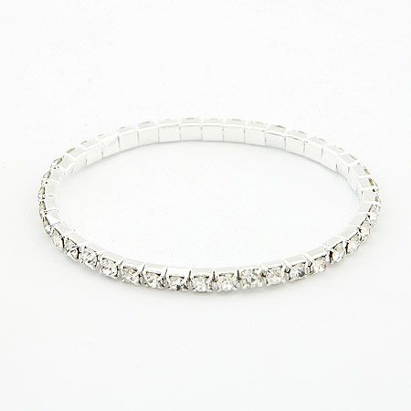 Simple line gem white bracelet 197594