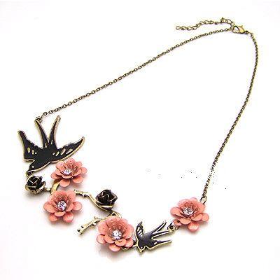 Fashion exquisite bird + cherry blossoms necklace good news 181534