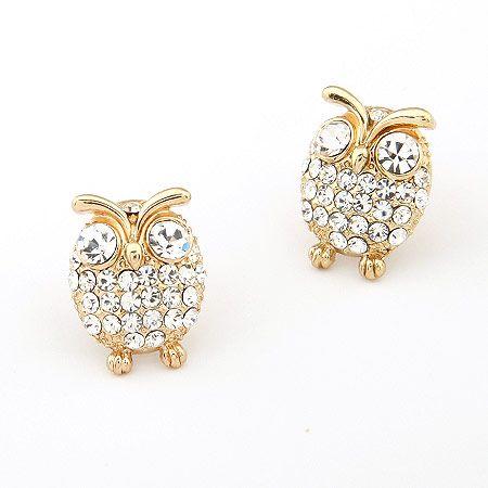 EXQUISITE gem lovely owl ear studs 195067